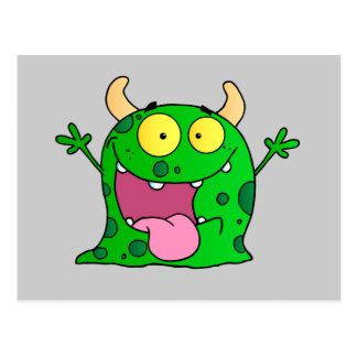 Monster Funny Comic Drawing Cartoon Cute Happy Postcard
