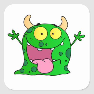 Monster Funny Comic Drawing Cartoon Cute Happy Square Sticker