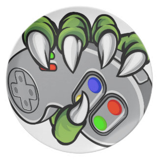 Monster Hand Holding Video Games Controller Plate
