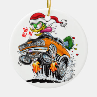Monster Hot Rod Santa Bird Ho! Ho! Ho! Ceramic Ornament