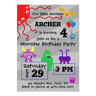 Monster Kid's Birthday Invitation