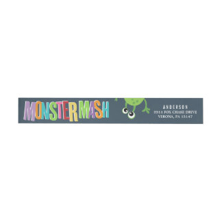 MONSTER MASH BIRTHDAY WRAP AROUND Address Labels Wraparound Return Address Label