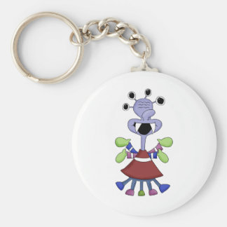 Monster Mash · Blue Four-Eyed Monster Basic Round Button Keychain