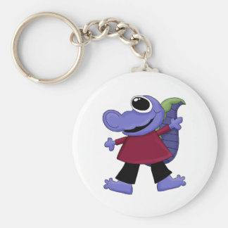 Monster Mash · Blue One-Eyed Monster Basic Round Button Keychain