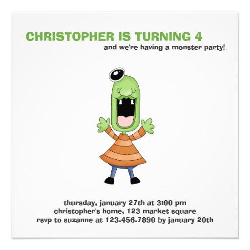 Monster Mash · Green One-Eyed Monster Personalized Invite