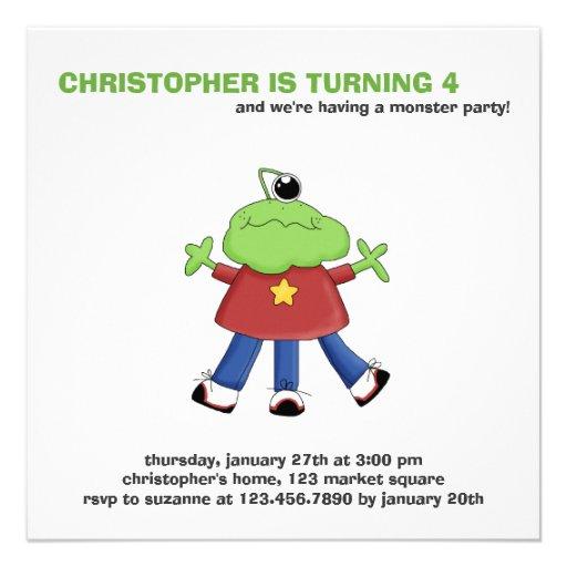 Monster Mash · Green One-Eyed Monster Invite