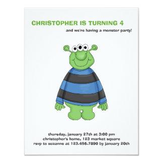 "Monster Mash · Green Three-Eyed Monster 4.25"" X 5.5"" Invitation Card"