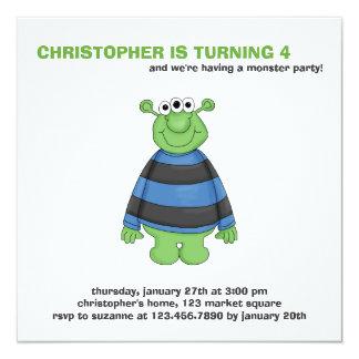 "Monster Mash · Green Three-Eyed Monster 5.25"" Square Invitation Card"