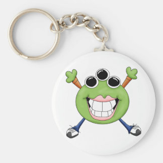 Monster Mash · Green Three-Eyed Monster Basic Round Button Keychain