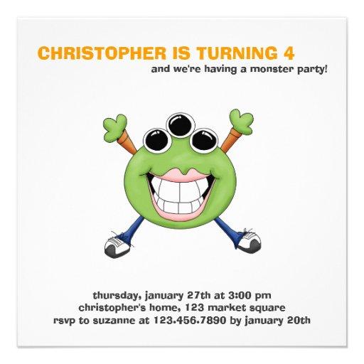 Monster Mash · Green Three-Eyed Monster Custom Invitation