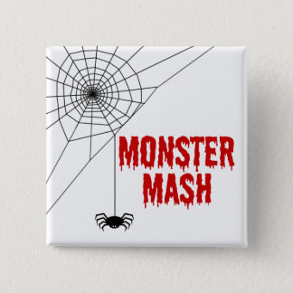 Monster Mash Halloween Spider Web 2 Inch Square Button