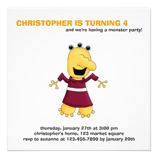 Monster Mash · Yellow Three-Eyed Monster Personalized Announcement