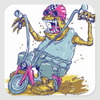Monster Motorcycle Biker Cartoon Square Sticker