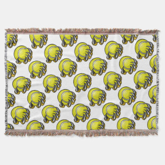 Monster or animal claw holding Tennis Ball Throw Blanket