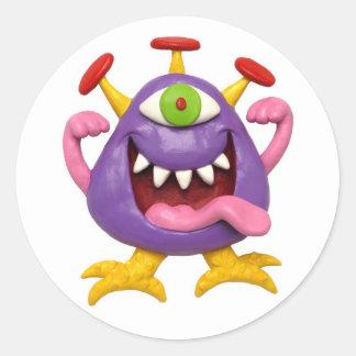 Monster Party Round Sticker