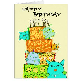 Monster Potato Happy Birthday Cake Card