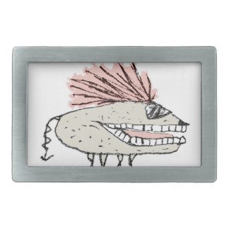 Monster Rat Hand Draw Illustration Rectangular Belt Buckle