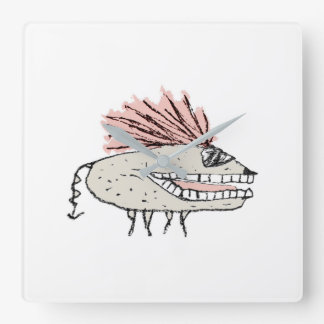 Monster Rat Hand Draw Illustration Square Wall Clock