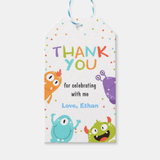 Monster thank you favor gift tag Little monster