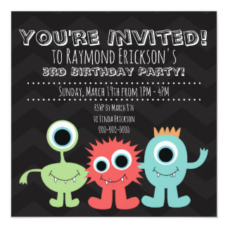 Monster Themed Birthday Party Invitations
