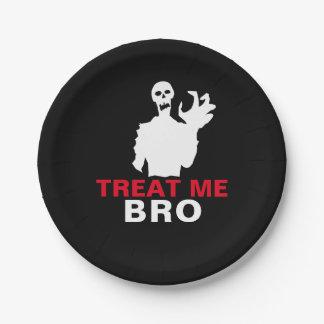 Monster Treat Me Bro funny Halloween customizable Paper Plate