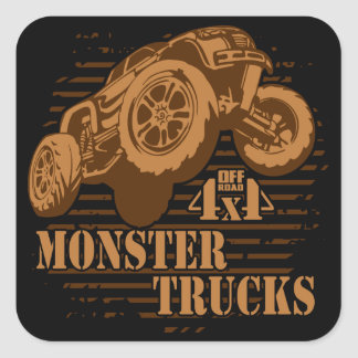 Monster Truck 4x4 Off Road Square Sticker