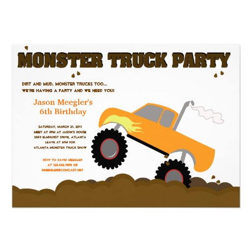 MONSTER TRUCK 5x7 Birthday Invitations