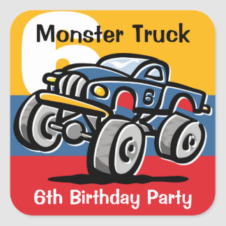 Monster Truck 6th Birthday Square Sticker