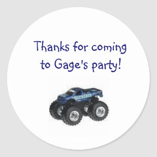 Monster Truck Birthday Party Goody Bag Label