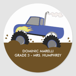 Monster Truck (Blue) Bookplate or Favor Sticker