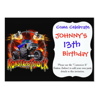 Monster Truck blue on Fire Card