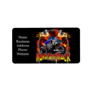 Monster Truck blue on Fire Label