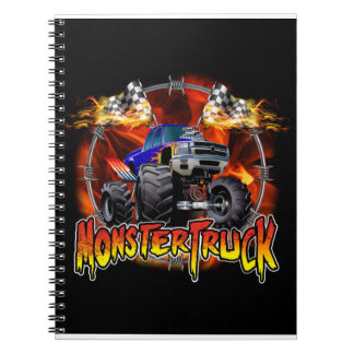 Monster Truck blue on Fire Notebooks