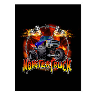 Monster Truck blue on Fire Postcard