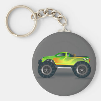 Monster Truck. Cool and colorful modified Pick up Basic Round Button Keychain