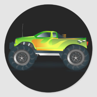 Monster Truck. Cool and colorful modified Pick up Classic Round Sticker