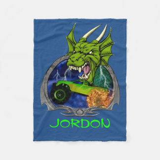 Monster Truck Dragon Fleece Blanket