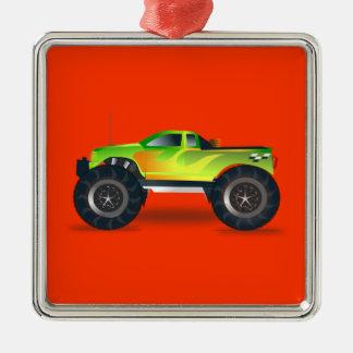 Monster Truck - Green Metal Ornament