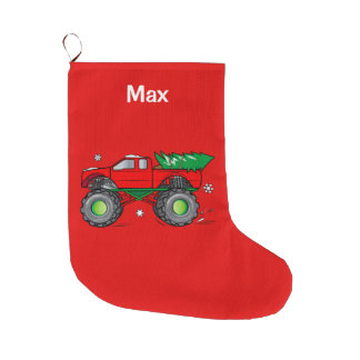Monster Truck Hauling Christmas Tree:Customizable Large Christmas Stocking