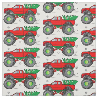 Monster Truck Hauling Christmas Tree in the Snow Fabric