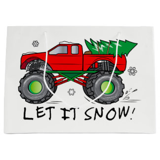 Monster Truck Hauling Christmas Tree in the Snow Large Gift Bag