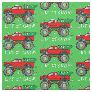 Monster Truck Hauling Christmas Tree: Let It Snow! Fabric
