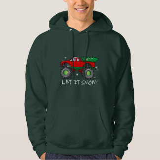 Monster Truck Hauling Christmas Tree: Let It Snow! Hoodie