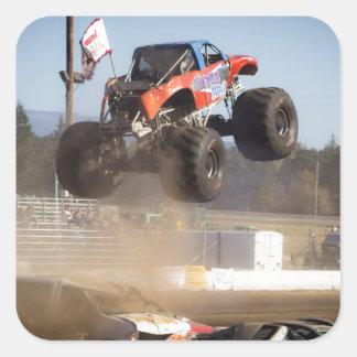 Monster Truck Jumping Square Sticker