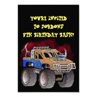 Monster truck party card