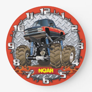 Monster Truck Personalizable Boys Room Clock