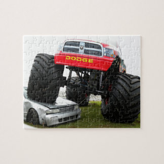 Monster Truck Smashing Car Puzzle