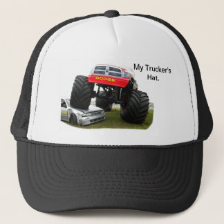 Monster Truck Smashing Car Trucker Hat