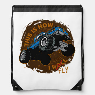 Monster Truck This is How I Fly Drawstring Bag