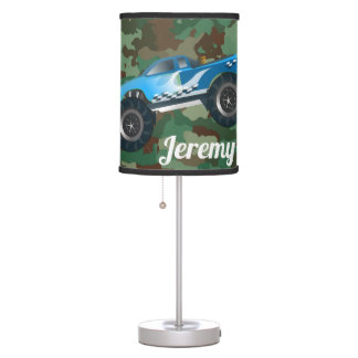 Monster Trucks on Camouflage Pattern Table Lamp